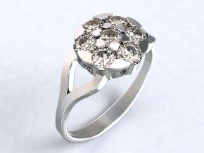 Stříbrný prsten květ