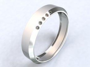 Stříbrný prsten se zirkony na okraji