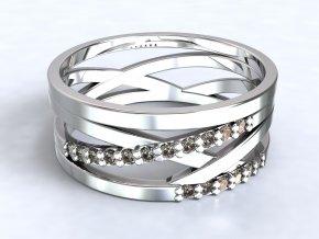 Stříbrný prsten výhybka zirkony