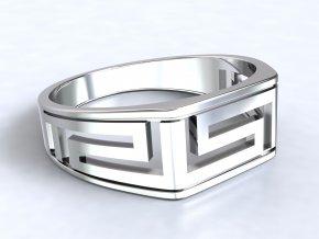 Pánský stříbrný prsten řecký motiv 325201