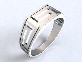 Pánský prsten řecký motiv hranatý stříbrný