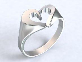 Prsten stříbrné srdce 325401
