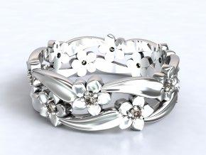 Stříbrný prsten kytičky v liáně 326001