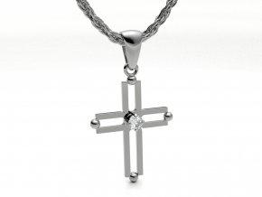 Přívěsek kříž se zirkonem stříbrný 010501