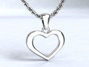 Přívěsek srdíčko stříbrný 100101