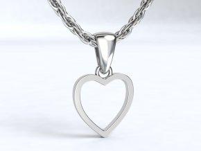 Stříbrný přívěsek srdce prázdné 107401