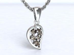 Stříbrný přívěsek list se zirkony 108401