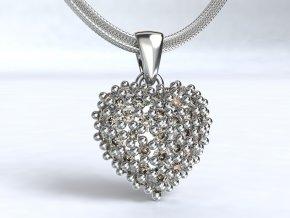 Stříbrný přívěsek srdce osázené zirkony 109501