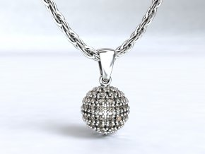 Stříbrný přívěsek kulička se zirkony 114701
