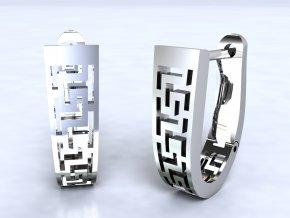 Náušnice řecký vzor na patent stříbné 202301