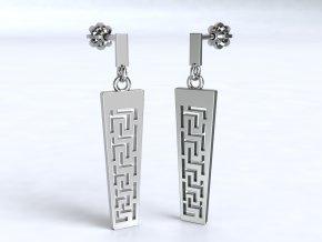 Náušnice šroubky řecký vzor delší stříbrné 213001