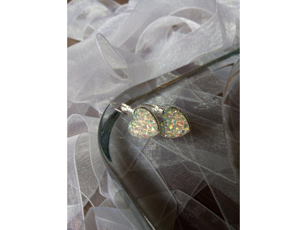 Zavírací náušnice HEARTS Diamond Stone