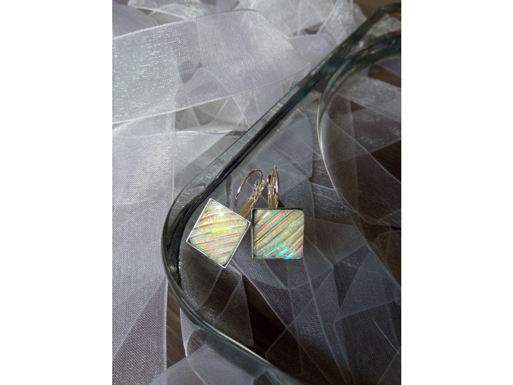 Zavírací náušnice SQUARE Stripe Glitter
