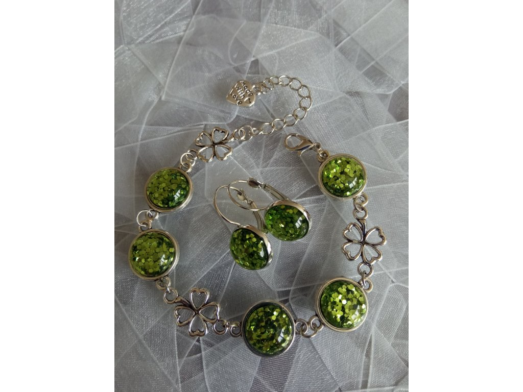 LUCKY LEAF Set Glitter Green