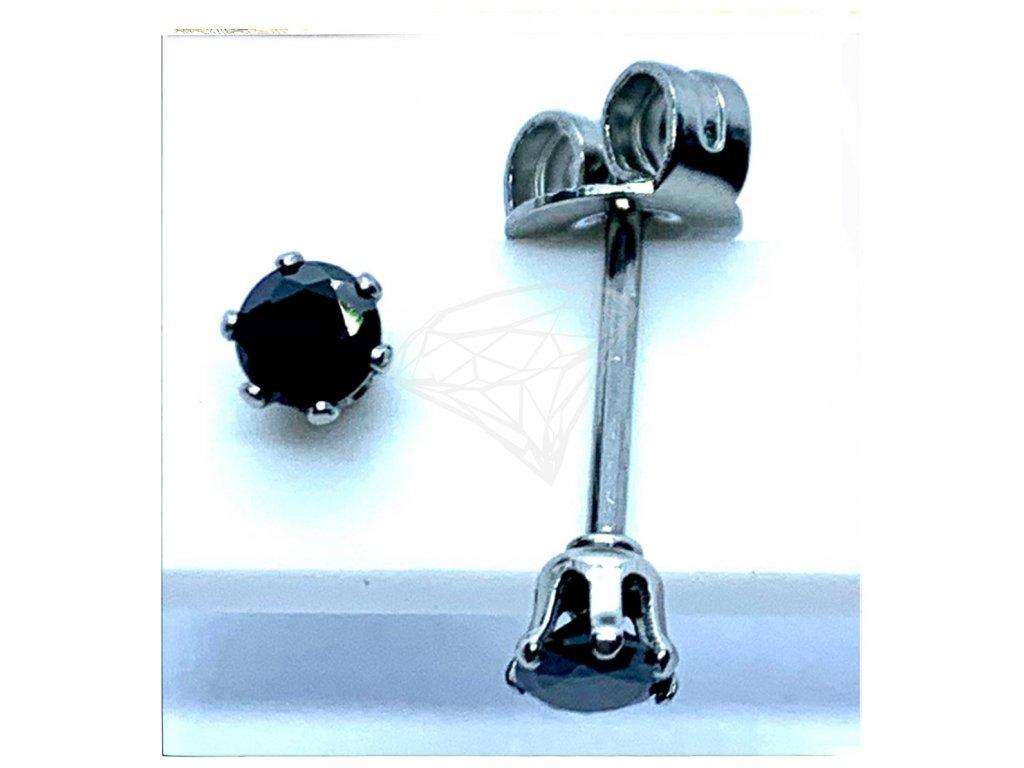 (O2124) Ocelové náušnice na puzetu, PECKY kulatý kamínek 3 mm, BLACK/černá barva kamínku