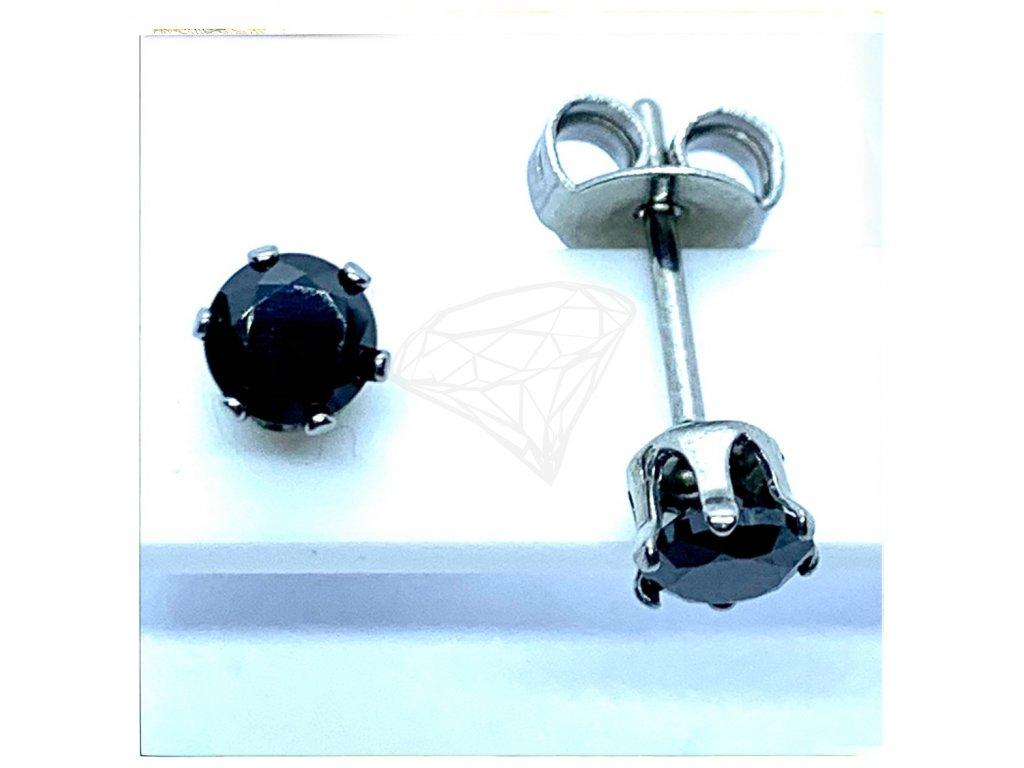 (O2125) Ocelové náušnice na puzetu, PECKY kulatý kamínek 4 mm, BLACK/černá barva kamínku