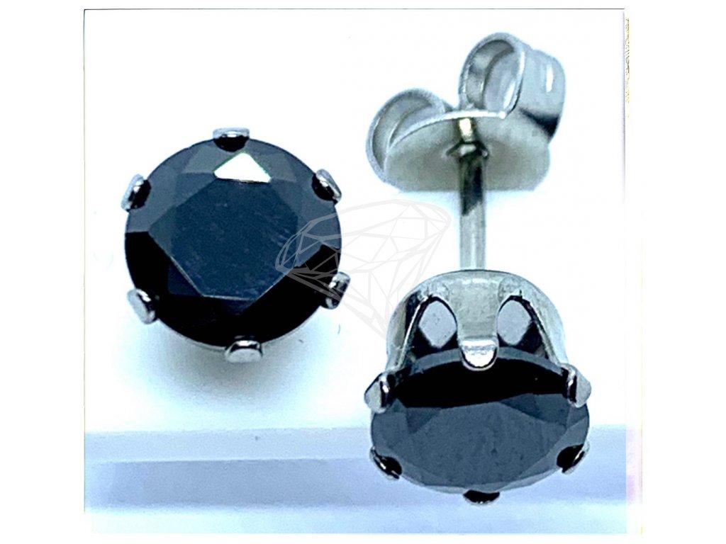 (O2127) Ocelové náušnice na puzetu, PECKY kulatý kamínek 6 mm, BLACK/černá barva kamínku