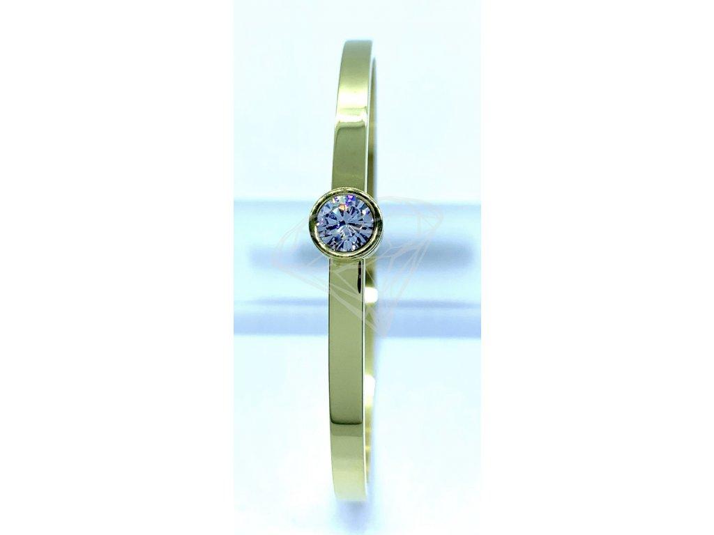 (O603) Ocelový PEVNÝ dámský náramek s velkým kamínkem GOLD/zlatá barva