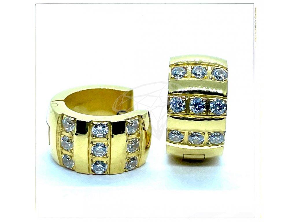 (O5246) Ocelové náušnice KROUŽKY s kamínky, GOLD/zlatá barva