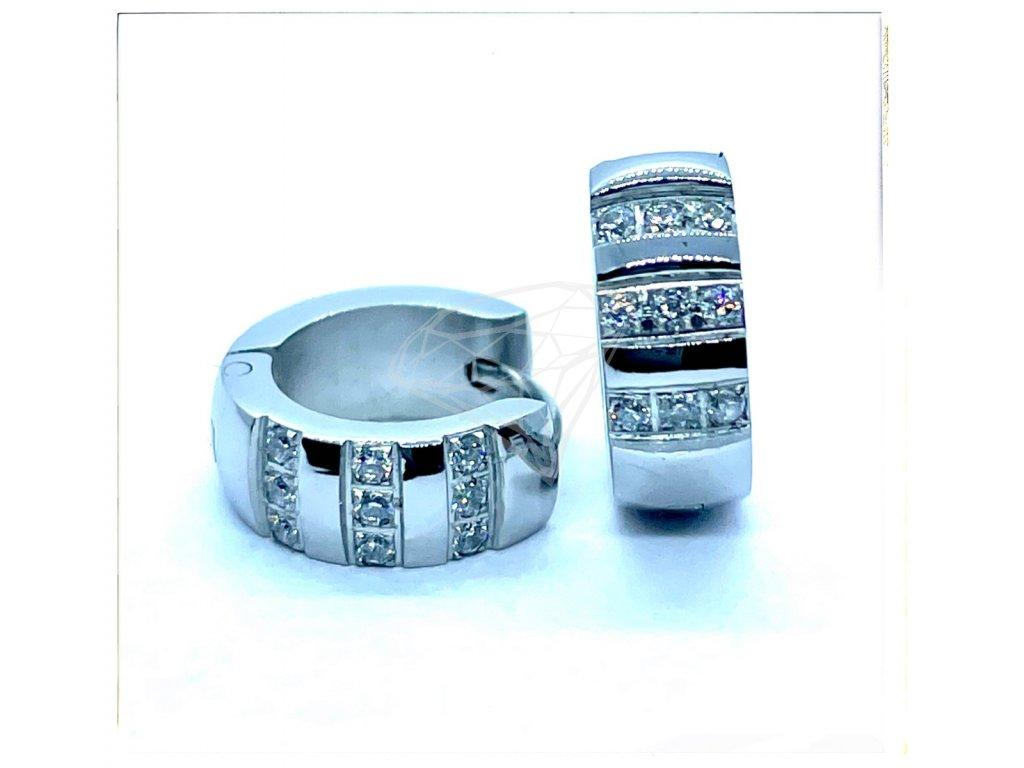 (O5248) Ocelové náušnice KROUŽKY s kamínky