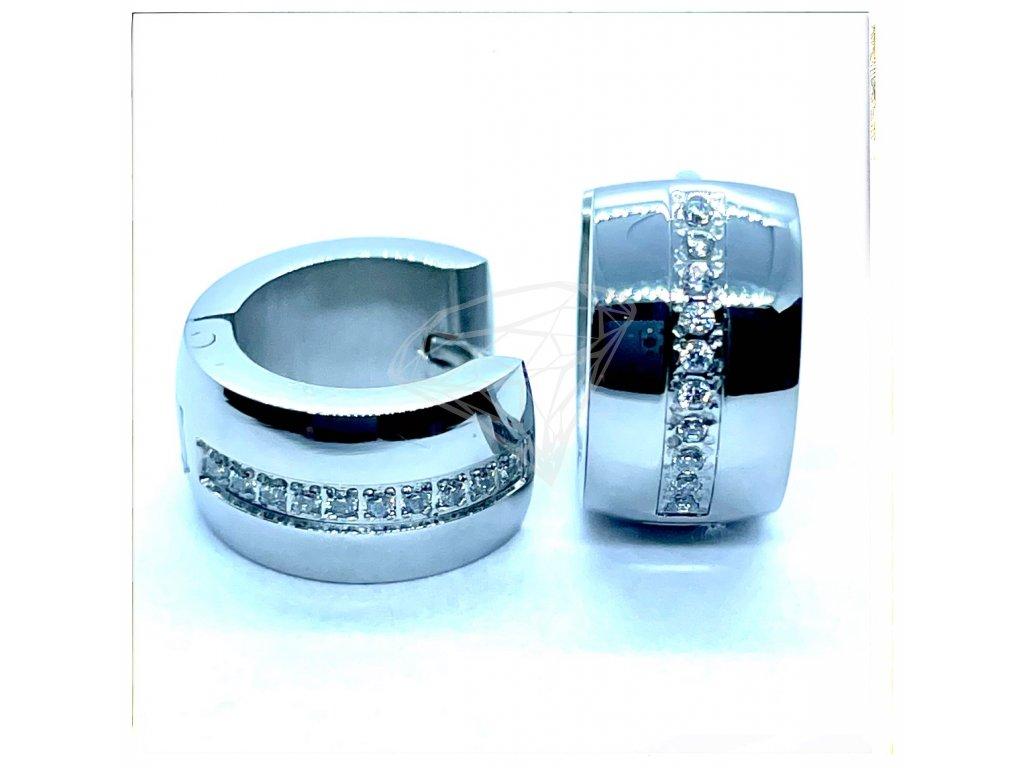 (O5250) Ocelové náušnice KROUŽKY s kamínky
