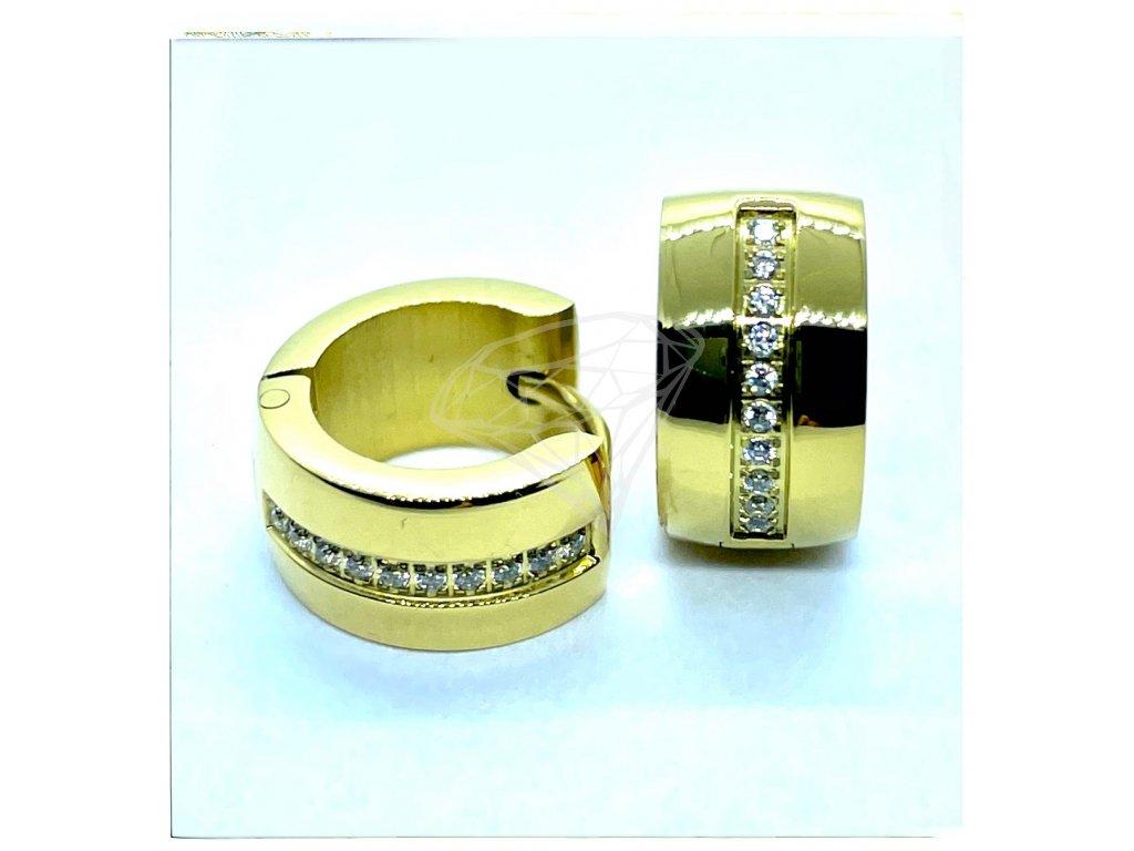 (O5251) Ocelové náušnice KROUŽKY s kamínky, GOLD/zlatá barva