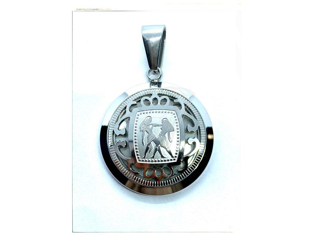 (O3003) Ocelový přívěsek ZNAMENÍ ZVĚROKRUHU / BLÍŽENEC