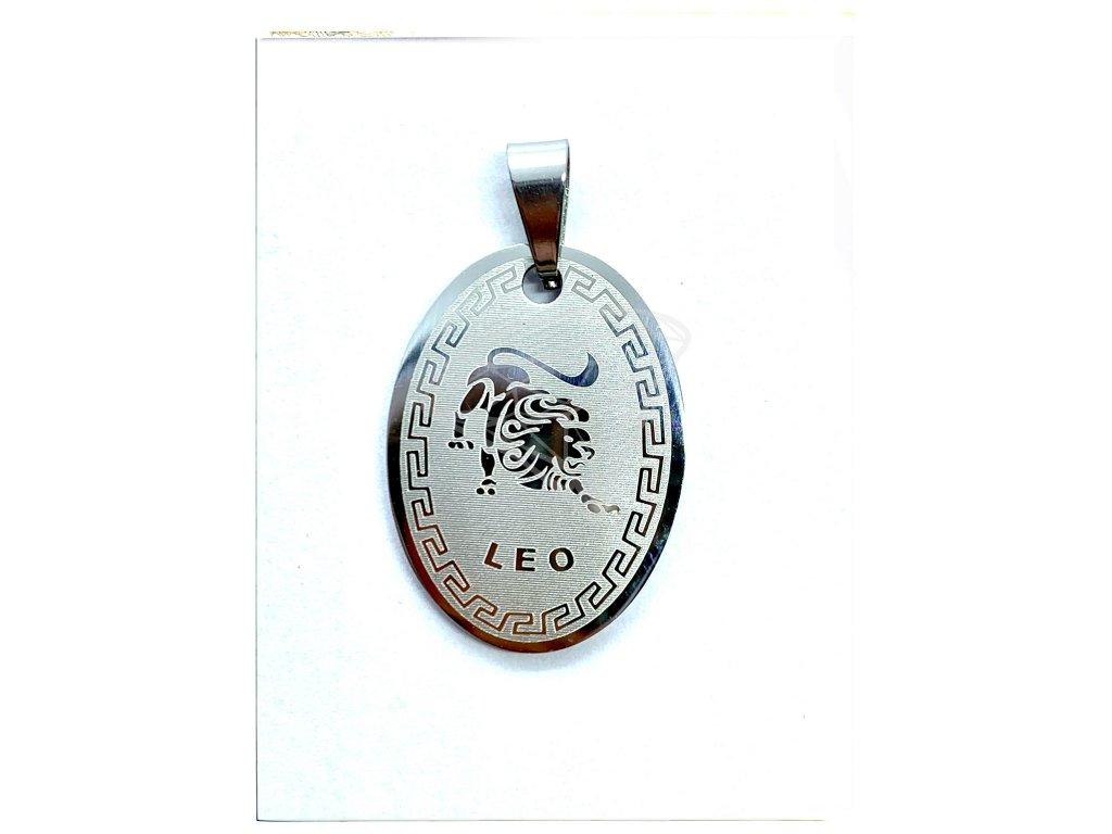 (O3041) Ocelový přívěsek ZNAMENÍ ZVĚROKRUHU / LEV