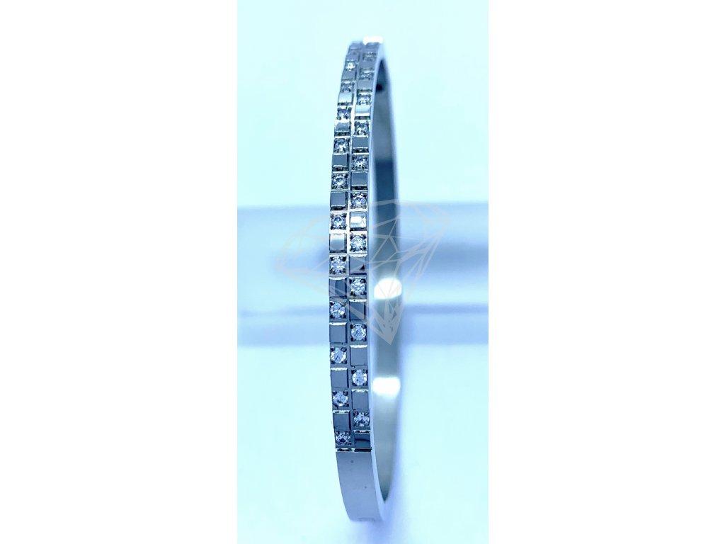 (O609) Ocelový PEVNÝ dámský náramek s kamínky, tvar ŠACHOVNICE