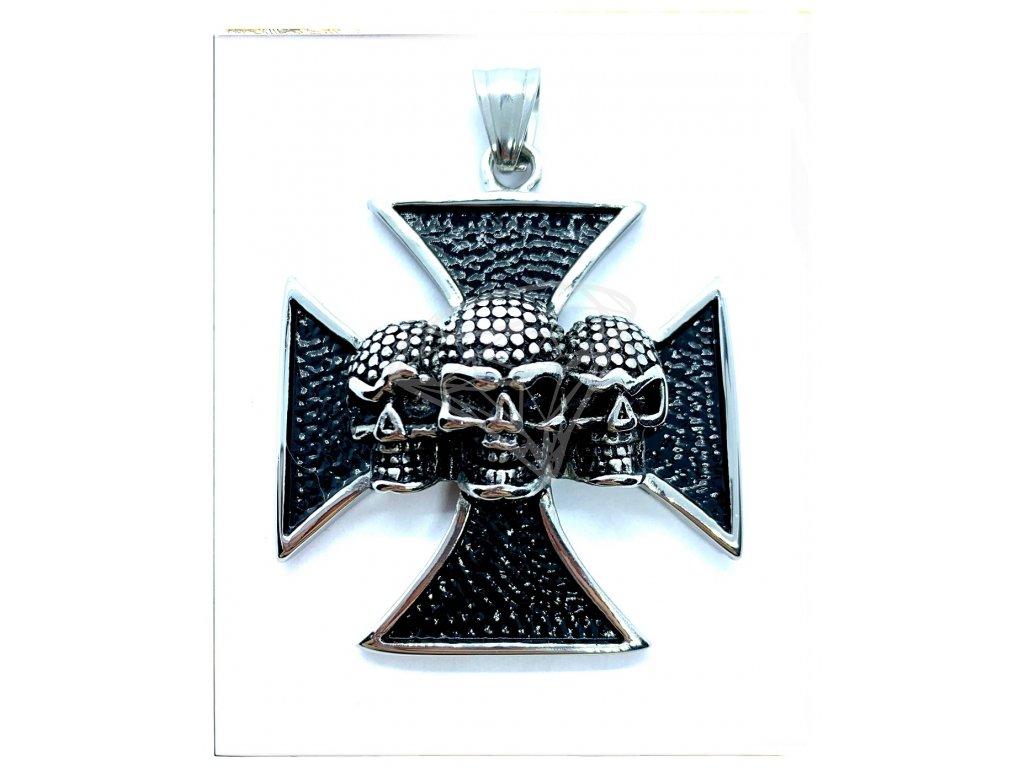 (O3104) Ocelový přívěs MALTÉZSKÝ KŘÍŽ S LEBKOU 4 x 4 cm, BLACK/černá barvou