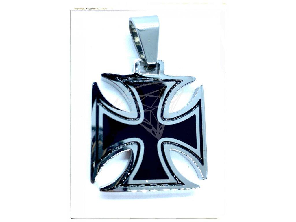 (O3108) Ocelový přívěs MALTÉZSKÝ KŘÍŽ 2,8 x 2,8 cm, BLACK/černá glazura