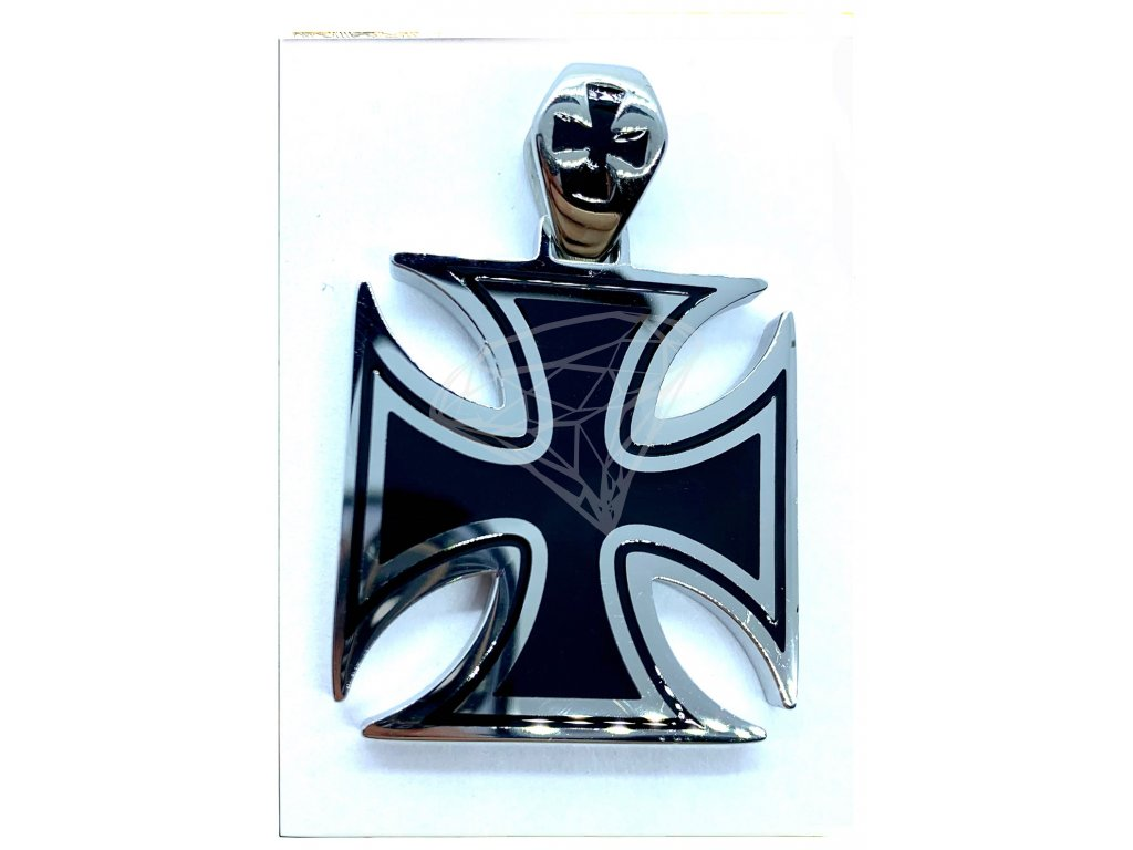 (O3110) Ocelový přívěs MALTÉZSKÝ KŘÍŽ 3,3 x 3,3 cm, BLACK/černá glazura