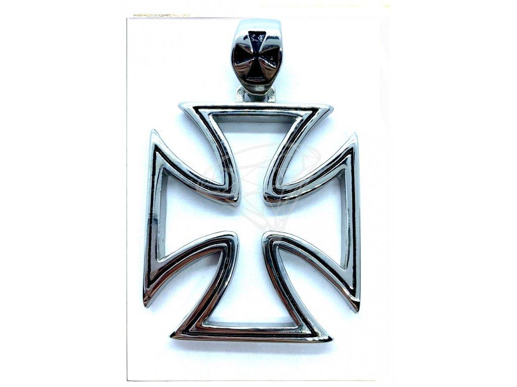 (O3111) Ocelový přívěs MALTÉZSKÝ KŘÍŽ 4 x 3,5 cm