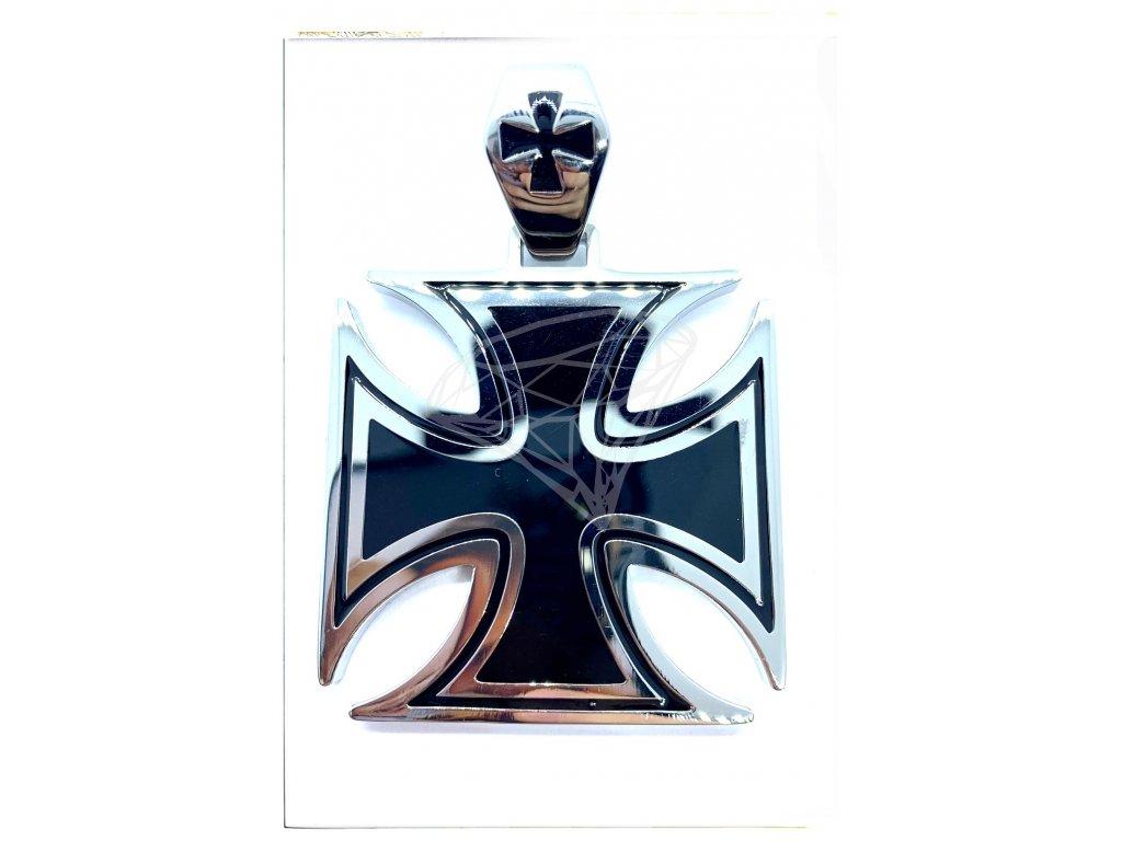 (O3112) Ocelový přívěs MALTÉZSKÝ KŘÍŽ 4,5 x 4,5 cm, BLACK/černá glazura