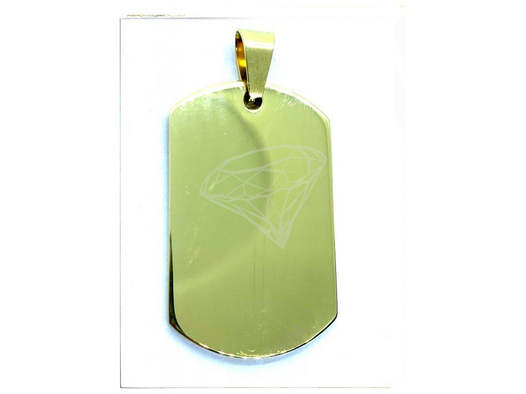 (O3133) Ocelový přívěs PLOŠKA / PSÍ ZNÁMKA, GOLD/zlatá barva