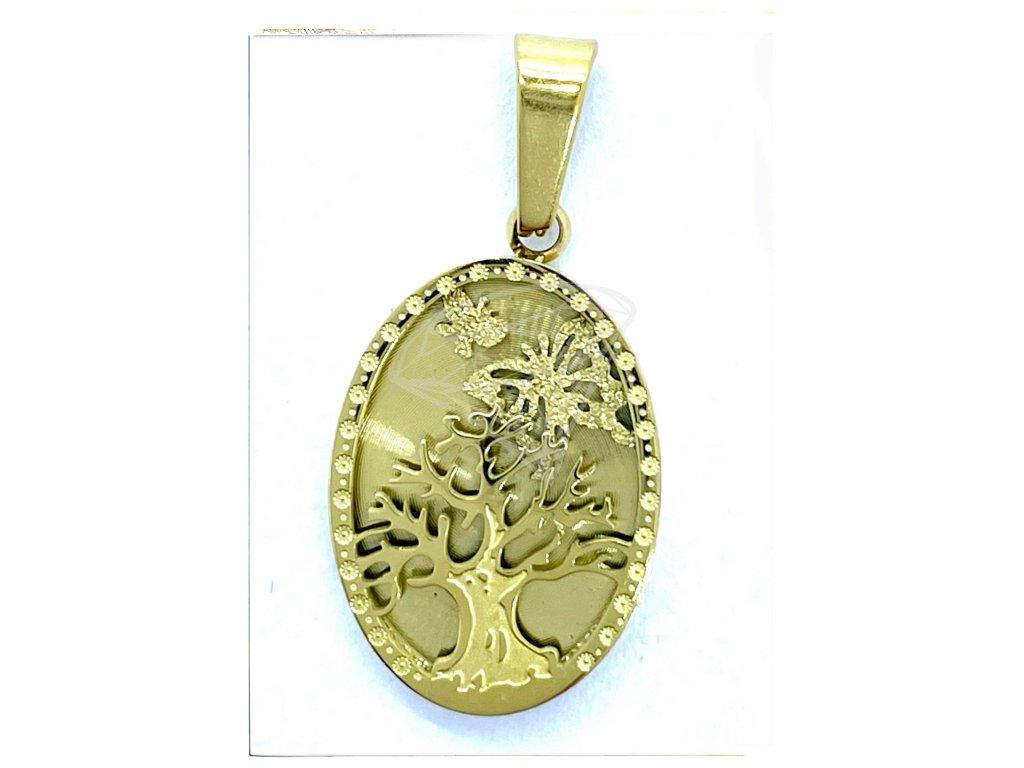 (O3213) Ocelový přívěšek STROM ŽIVOTA bez kamínků, ovál, GOLD/zlatá barva