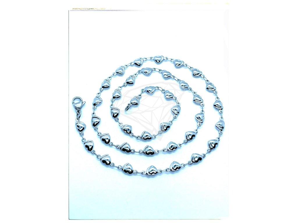 (O340) Ocelový dámský řetízek, vzor SRDCE