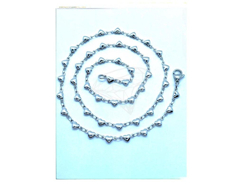 (O342) Ocelový dámský řetízek, vzor SRDCE