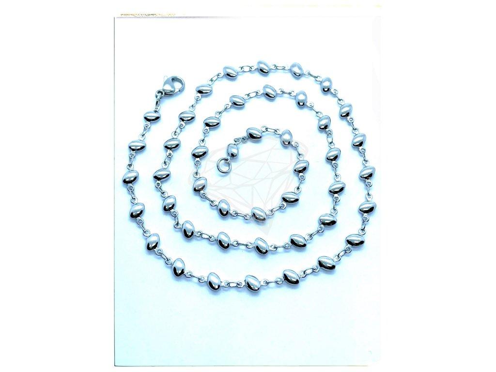 (O352) Ocelový dámský řetízek, vzor ZRNO