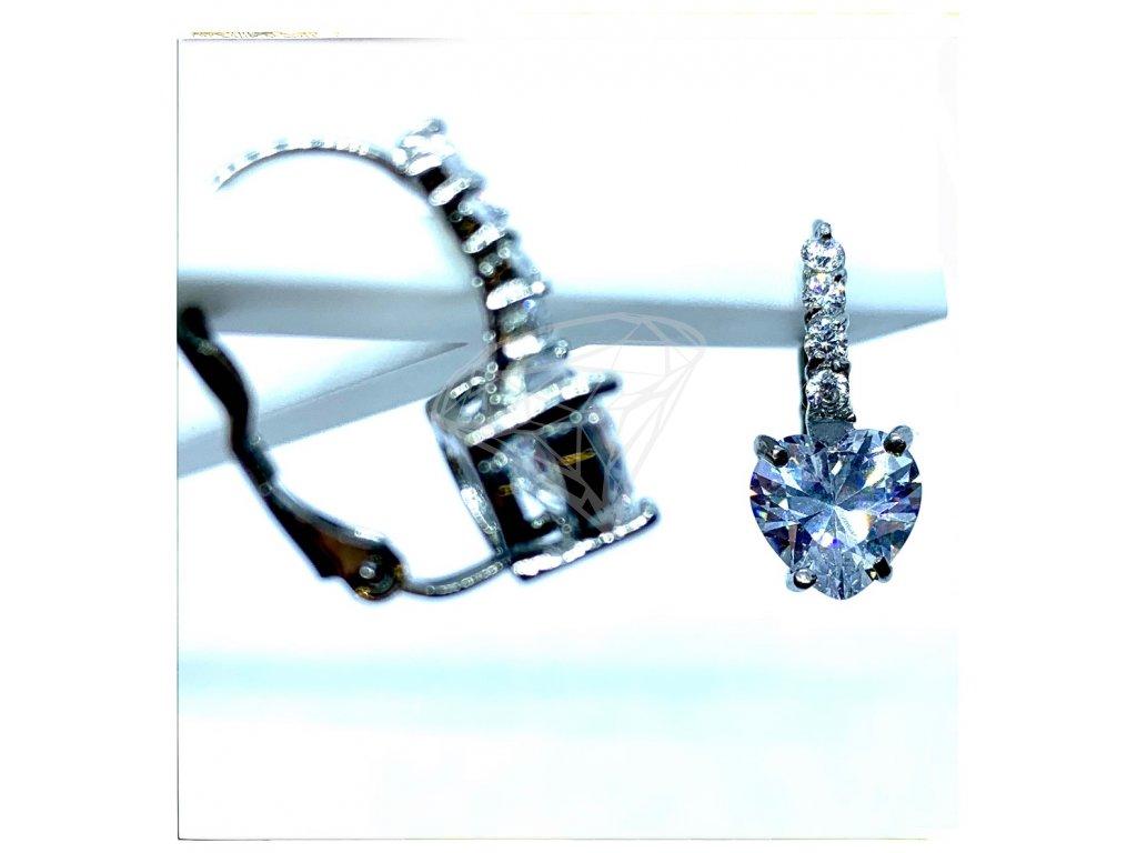 (O204) Ocelové dámské náušnice SRDCE s kamínky (0,8 cm), na klapku