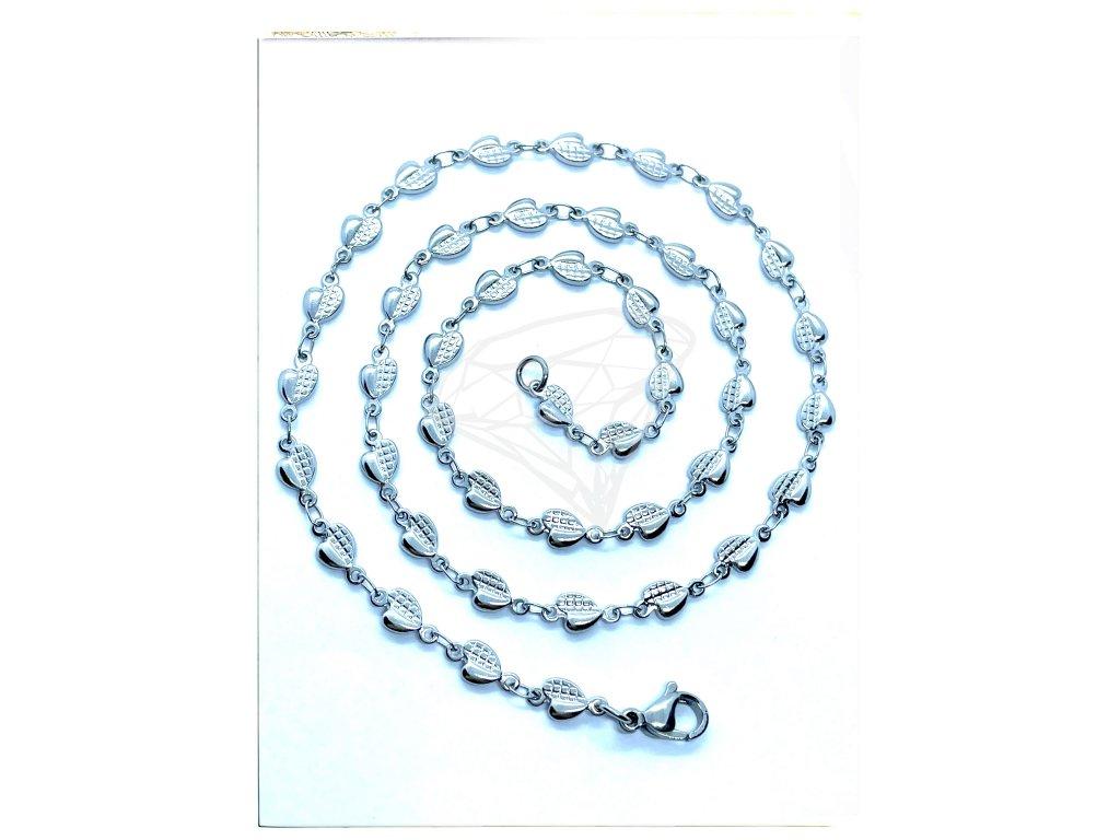 (O348) Ocelový dámský řetízek, vzor SRDCE