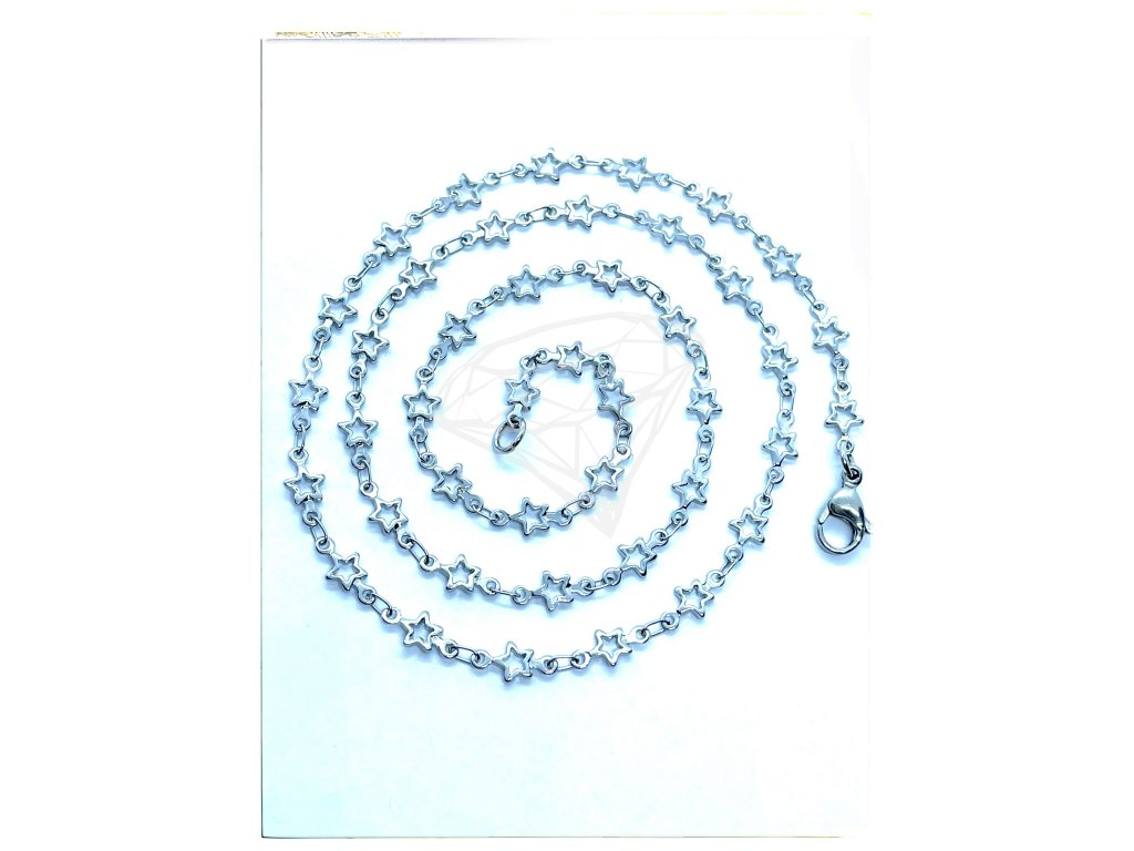 (O349) Ocelový dámský řetízek, vzor HVĚZDIČKY
