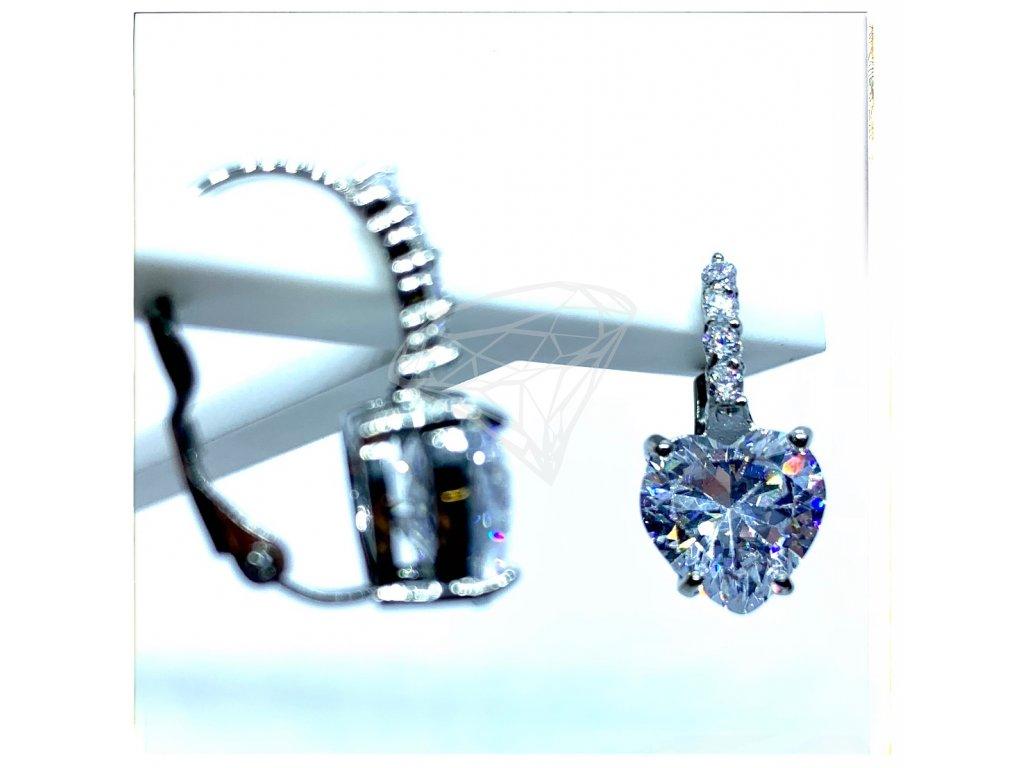 (O205) Ocelové dámské náušnice SRDCE s kamínky (1,0 cm), na klapku