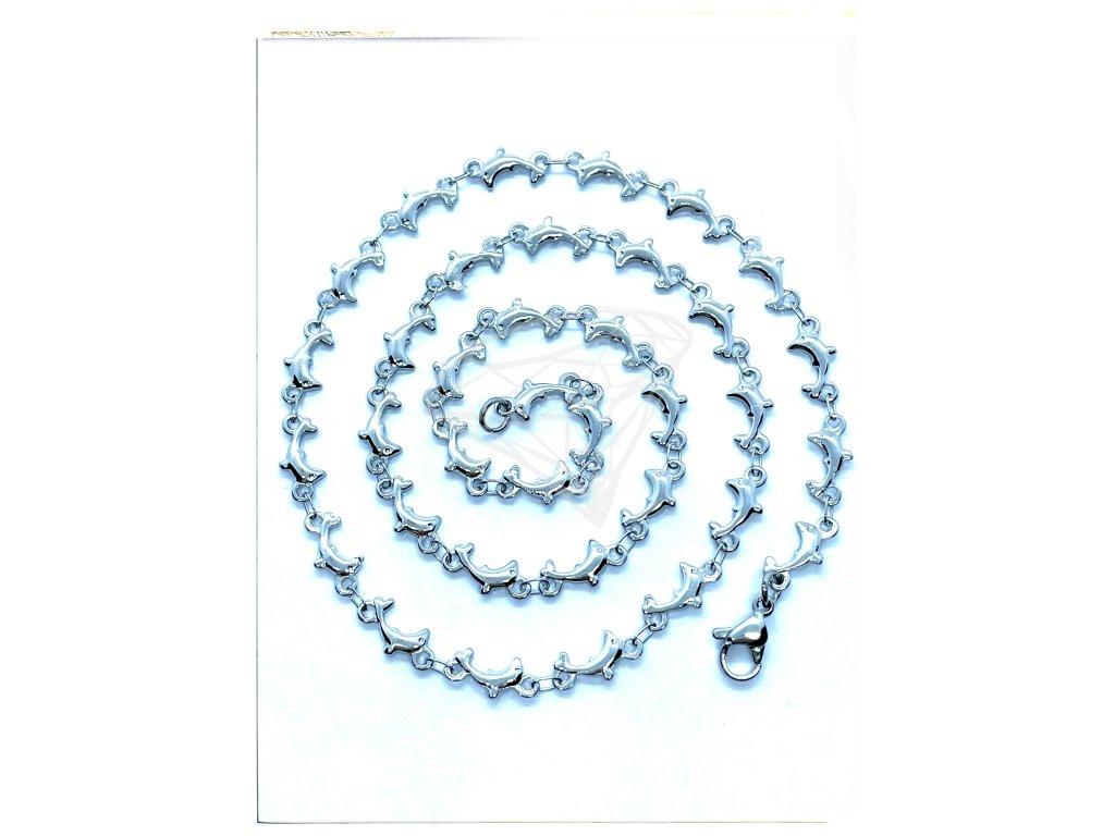 (O350) Ocelový dámský řetízek, vzor DELFÍNCI
