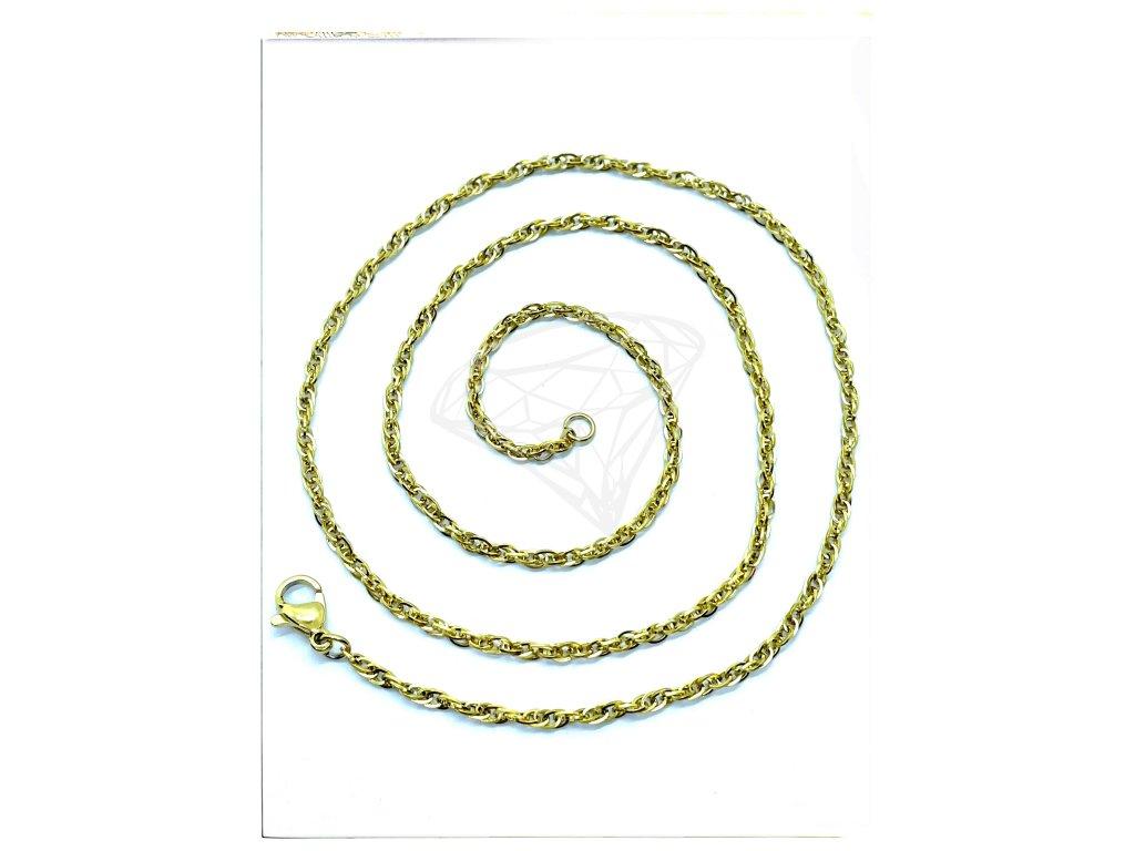 (O376) Ocelový dámský řetízek 36 - 50 cm/0,2 cm, kroucený LAMBÁDA, GOLD/zlatá barva