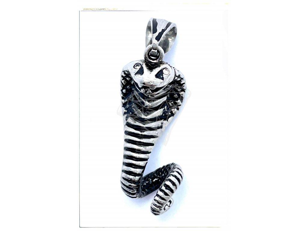 (O3420) Ocelový přívěšek HAD kobra