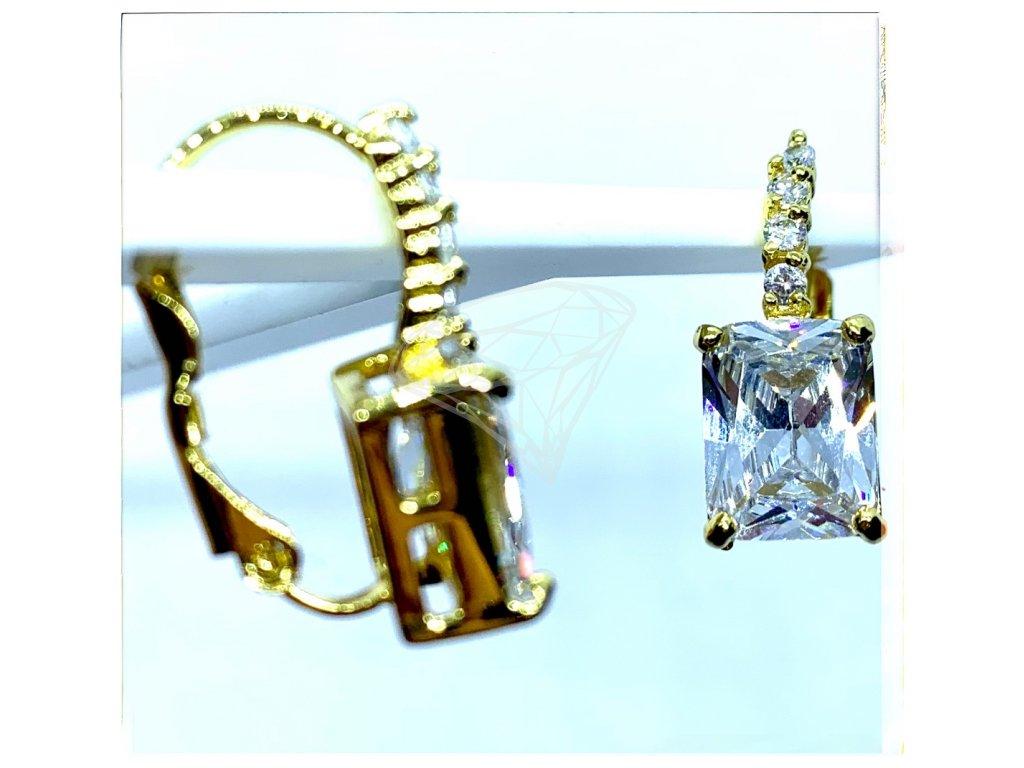 (O211) Ocelové dámské náušnice, OBDÉLNÍK s kamínky, GOLD/zlaté, na klapku