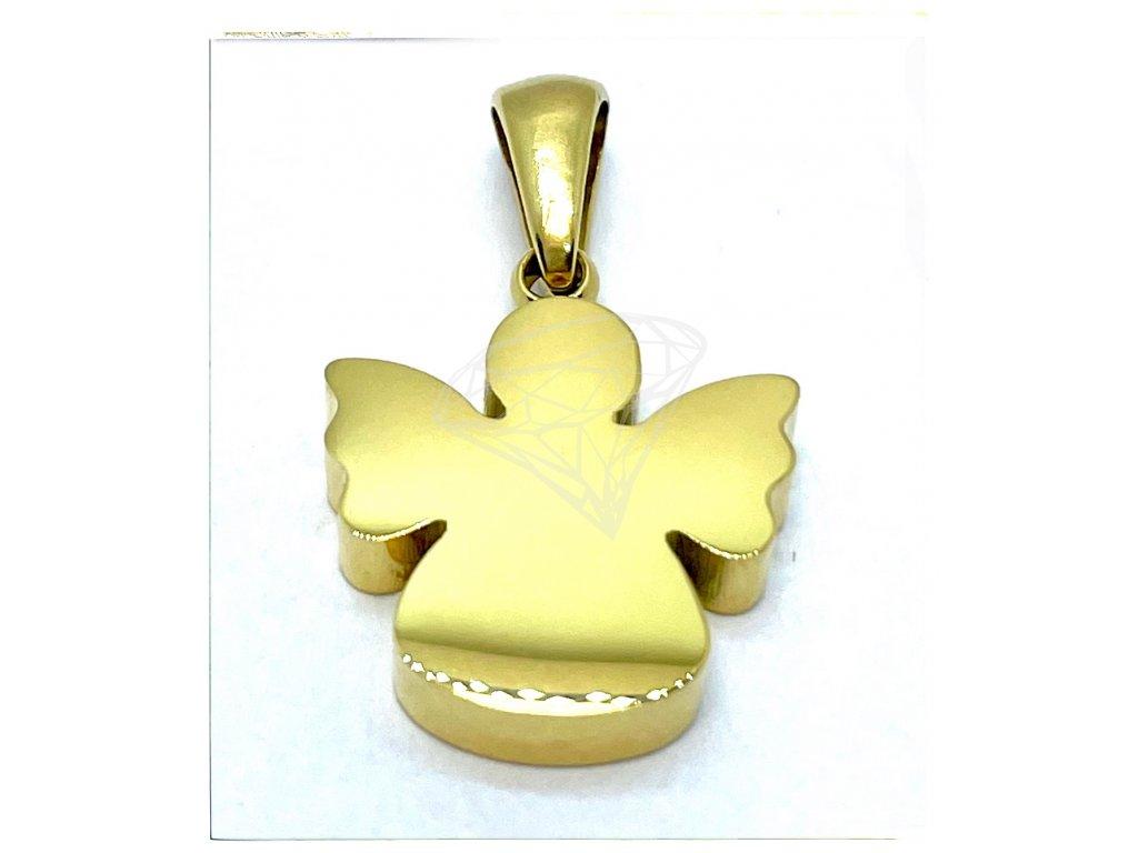 (O3494) Ocelový přívěšek ANDĚL, GOLD/zlatá barva