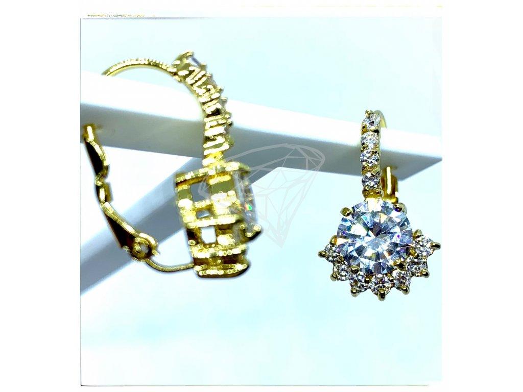 (O215) Ocelové dámské náušnice s kamínky, na klapku, GOLD/zlatá