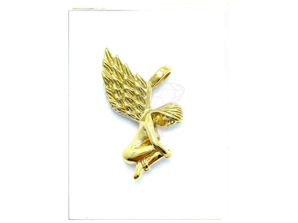 (O3532) Ocelový přívěšek VALKÝRA/ANDĚL, GOLD/zlatá barva